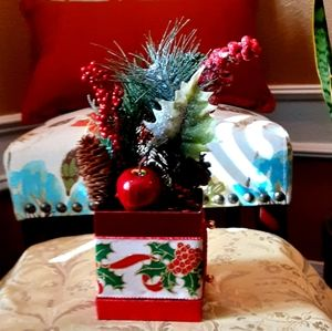 Red Berries, Holly & Apple Decorated Box Christmas